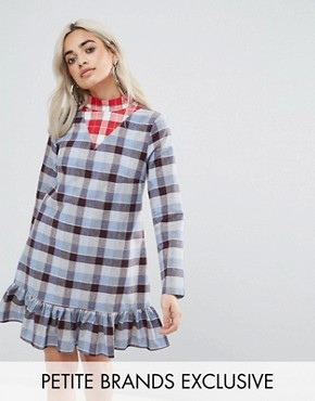 photo All Over Tartan Mini Dress with Ruffle Hem Detail by Glamorous Petite, color Tartan - Image 1