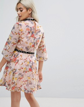 photo Allover Floral Ruffle Mini Dress with Hardware Trim Detail by Glamorous Petite, color Multi - Image 2
