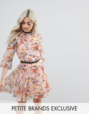 photo Allover Floral Ruffle Mini Dress with Hardware Trim Detail by Glamorous Petite, color Multi - Image 1