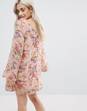 photo Button Front Dress in Floral Print by Glamorous Petite, color Multi - Image 2