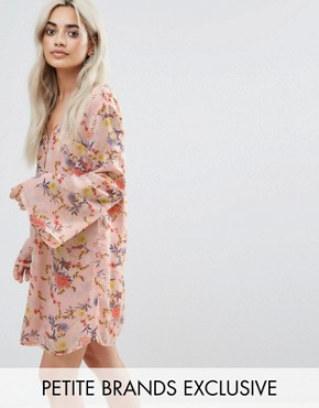 photo Button Front Dress in Floral Print by Glamorous Petite, color Multi - Image 1