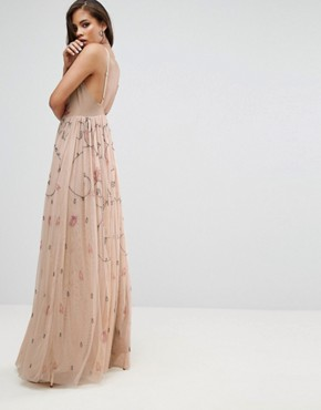 photo Cami Strap Plunge Embellished Maxi Dress by Maya Tall, color Multi - Image 2