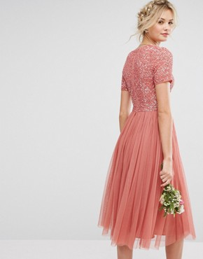 photo Plunge Neck Embellished Top Mini Dress with Tulle Skirt by Maya Tall, color Salmon - Image 2