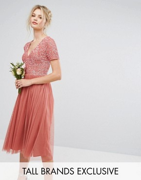 photo Plunge Neck Embellished Top Mini Dress with Tulle Skirt by Maya Tall, color Salmon - Image 1