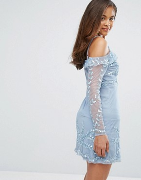 photo Cold Shoulder Embellished Mini Dress by Maya Tall, color Dusty Blue - Image 2