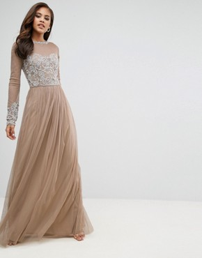 photo Long Sleeve Open Back Lace Detail Maxi Dress by Maya Tall, color Nude - Image 2