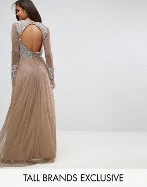 photo Long Sleeve Open Back Lace Detail Maxi Dress by Maya Tall, color Nude - Image 1