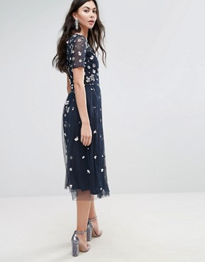photo Floral 3D Embellished Midi Dress by Maya Tall, color Navy - Image 2