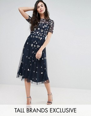photo Floral 3D Embellished Midi Dress by Maya Tall, color Navy - Image 1