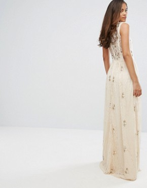 photo All Over Embellished Lace Maxi Dress by Maya Tall, color Nude - Image 2