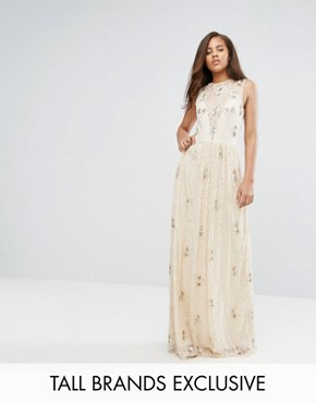 photo All Over Embellished Lace Maxi Dress by Maya Tall, color Nude - Image 1