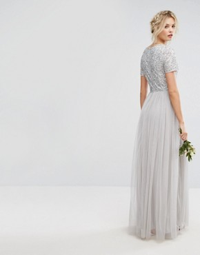 photo Plunge Neck Embellished Top Maxi Dress with Tulle Skirt by Maya Tall, color Grey - Image 2