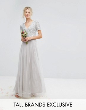 photo Plunge Neck Embellished Top Maxi Dress with Tulle Skirt by Maya Tall, color Grey - Image 1