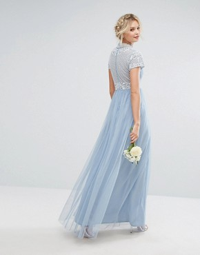 photo High Neck Cap Sleeve Embellished Maxi Dress by Maya Tall, color Dusty Blue - Image 2