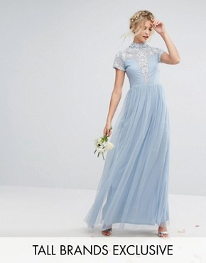 photo High Neck Cap Sleeve Embellished Maxi Dress by Maya Tall, color Dusty Blue - Image 1