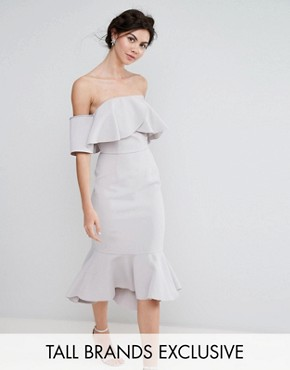 photo Exaggerated Frill Bandeau Midi Dress with Peplum Hem by True Decadence Tall, color Grey - Image 1