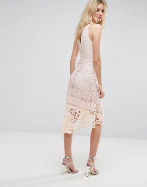 photo Allover High Neck Premium Lace Midi Dress by True Decadence Tall, color Soft Coral - Image 2