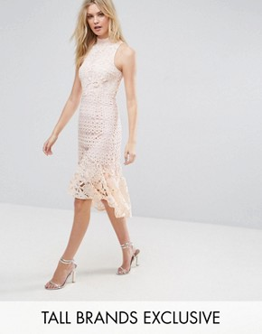 photo Allover High Neck Premium Lace Midi Dress by True Decadence Tall, color Soft Coral - Image 1