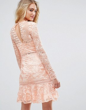 photo Allover Premium Lace Skater Dress with Fluted Hem by True Decadence Tall, color Peach - Image 2