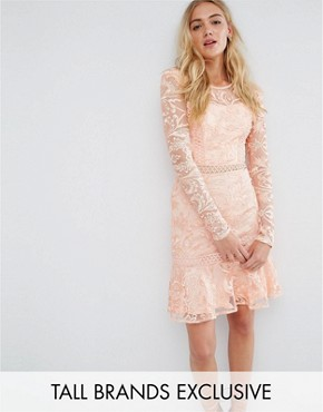 photo Allover Premium Lace Skater Dress with Fluted Hem by True Decadence Tall, color Peach - Image 1