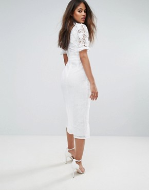 photo Lace Top Wrap Front Midi Dress by True Decadence Tall Premium, color White - Image 2