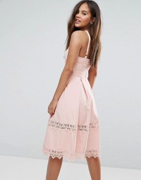 photo Frill High Neck Prom Skater Dress with Lace Contrast Inserts by True Decadence Tall Premium, color Nude - Image 2