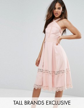 photo Frill High Neck Prom Skater Dress with Lace Contrast Inserts by True Decadence Tall Premium, color Nude - Image 1
