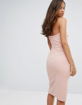 photo Exaggerated Bow Detail Bandeau Midi Dress by True Decadence Tall, color Nude - Image 2