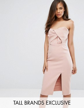 photo Exaggerated Bow Detail Bandeau Midi Dress by True Decadence Tall, color Nude - Image 1