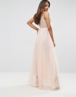 photo Metallic Applique Top Maxi Dress with Tulle Skirt by True Decadence Tall Premium, color Nude - Image 2
