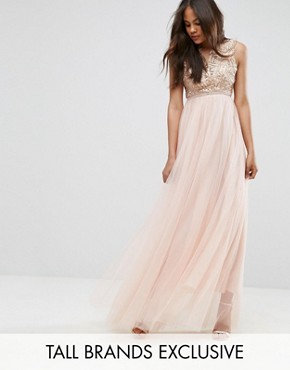 photo Metallic Applique Top Maxi Dress with Tulle Skirt by True Decadence Tall Premium, color Nude - Image 1