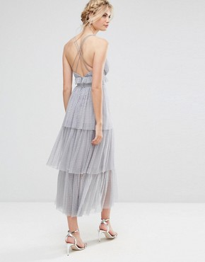 photo Tulle Ruffle Layered Midi Dress with Strappy Back Detail by True Decadence Tall Premium, color Grey - Image 2