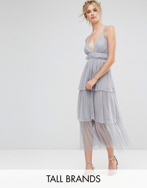 photo Tulle Ruffle Layered Midi Dress with Strappy Back Detail by True Decadence Tall Premium, color Grey - Image 1