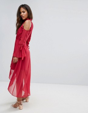 photo Cold Shoulder Wrap Front Midi Dress with Fluted Sleeve Detail by True Decadence Tall Premium, color Raspberry - Image 2
