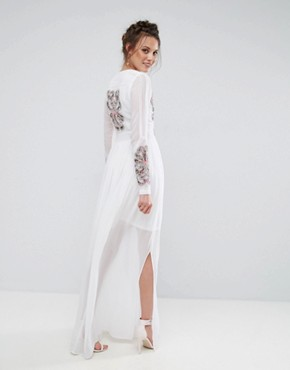 photo Folk Embroidered Button Down Maxi Dress by Frock and Frill Tall, color Off White - Image 2