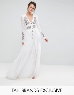 photo Folk Embroidered Button Down Maxi Dress by Frock and Frill Tall, color Off White - Image 1