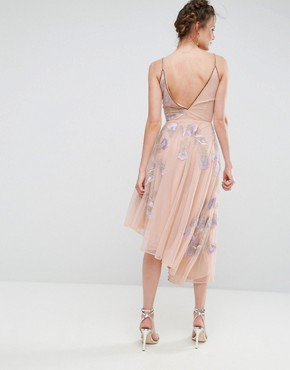 photo Embroidered Cami Strap High Low Midi Dress with Plunge Back Detail by Frock and Frill Tall, color Lilac - Image 2