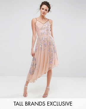 photo Embroidered Cami Strap High Low Midi Dress with Plunge Back Detail by Frock and Frill Tall, color Lilac - Image 1
