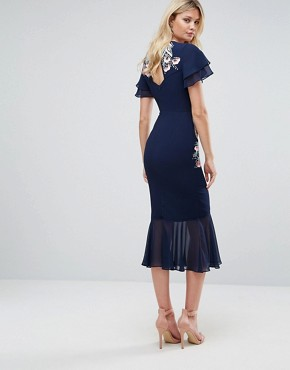 photo Embroidered Midi Dress with Chiffon Hem Detail by Frock and Frill Tall, color Navy - Image 2