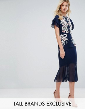 photo Embroidered Midi Dress with Chiffon Hem Detail by Frock and Frill Tall, color Navy - Image 1
