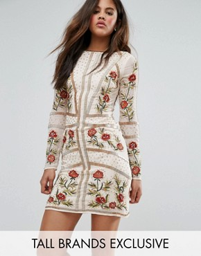 photo Embellished Shift Dress with Floral Embroidery by Frock and Frill Tall, color Rose Dust - Image 1