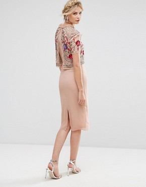 photo Overlay Midi Pencil Dress with Floral Embellishment by Frock and Frill Tall, color Rose Dust - Image 2