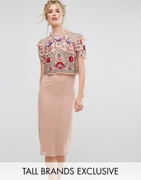 photo Overlay Midi Pencil Dress with Floral Embellishment by Frock and Frill Tall, color Rose Dust - Image 1