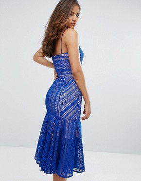 photo Cami Strap Lace Midi Dress by Jarlo Tall, color Cobalt - Image 2