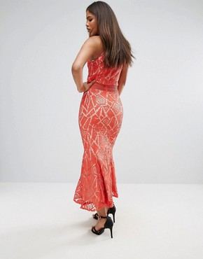 photo All Over Lace High Neck Fishtail Detail Dress by Jarlo Tall, color Orange - Image 2