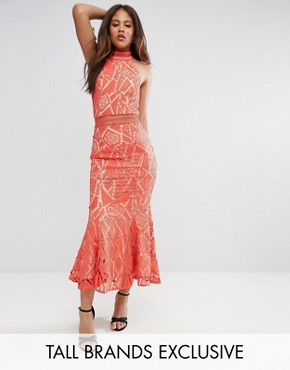 photo All Over Lace High Neck Fishtail Detail Dress by Jarlo Tall, color Orange - Image 1