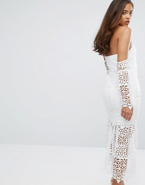 photo Bardot Cutwork Lace Midi Dress by Jarlo Tall, color White - Image 2