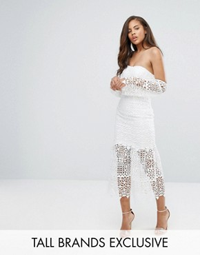 photo Bardot Cutwork Lace Midi Dress by Jarlo Tall, color White - Image 1