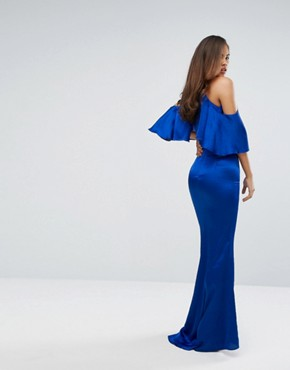 photo Cold Shoulder Frill Maxi Dress by Jarlo Tall, color Cobalt - Image 2