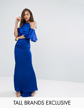 photo Cold Shoulder Frill Maxi Dress by Jarlo Tall, color Cobalt - Image 1